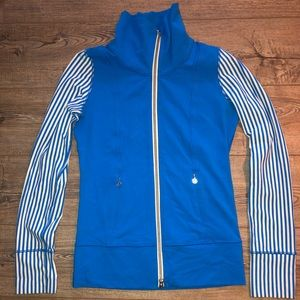 Blue and White Striped Lululemon Zip-Up